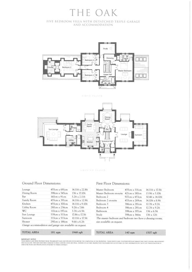 'The Oak' Floor Plans