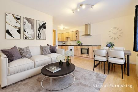 Living room/kitchen with 'Virtual furnishings'