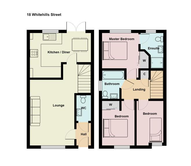 2D floor plan of ground & first floors