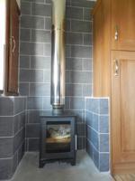 log burner in kitchen