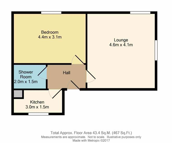 Floorplan of 1 bedroom apartment