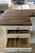 Oak lined kitchen drawers